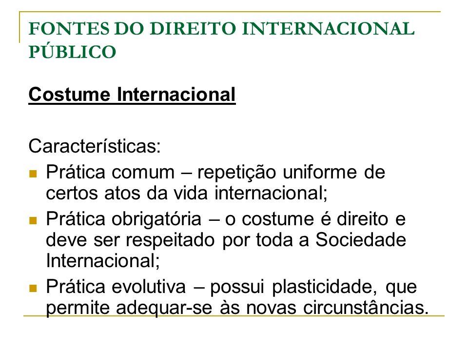 FONTES DO DIREITO INTERNACIONAL PÚBLICO Costume Internacional Características: Prática comum – repetição uniforme de certos atos da vida internacional
