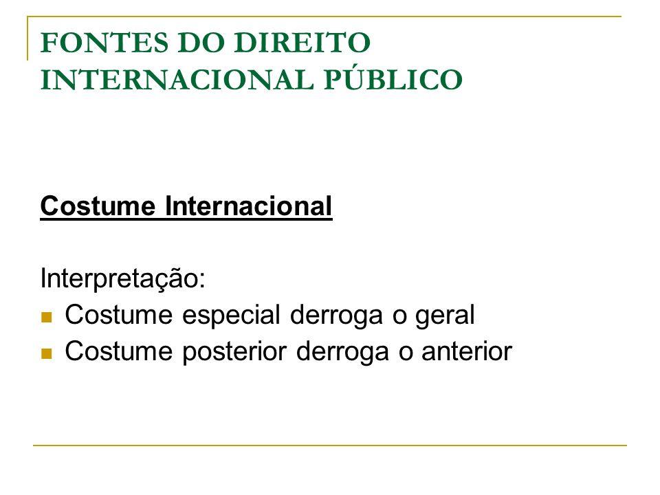 FONTES DO DIREITO INTERNACIONAL PÚBLICO Costume Internacional Interpretação: Costume especial derroga o geral Costume posterior derroga o anterior