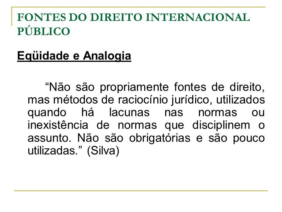 FONTES DO DIREITO INTERNACIONAL PÚBLICO Eqüidade e Analogia Não são propriamente fontes de direito, mas métodos de raciocínio jurídico, utilizados qua