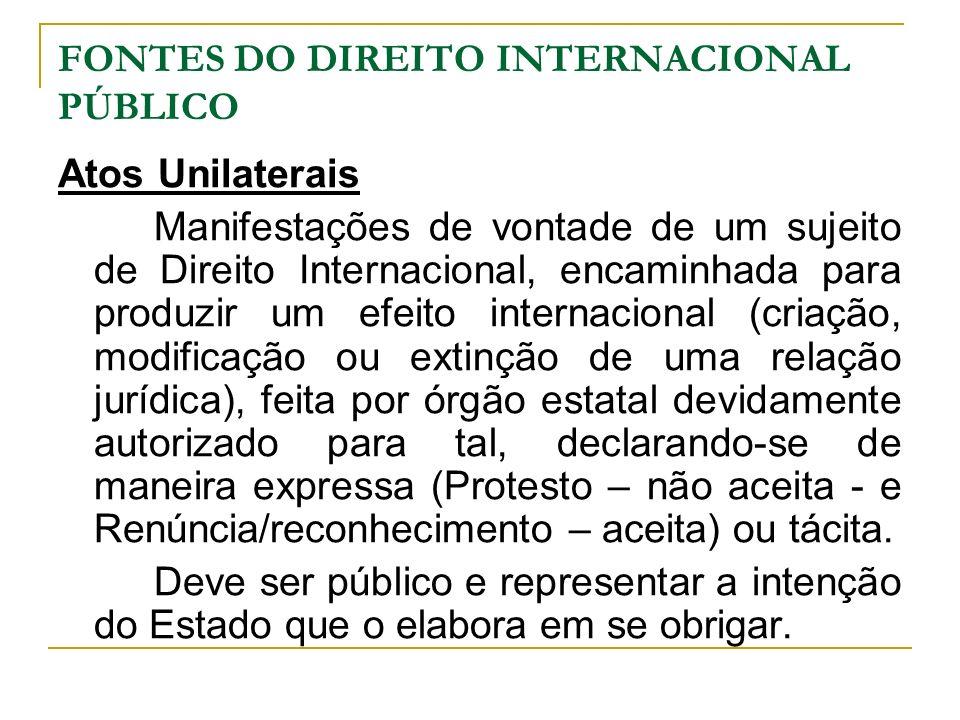 FONTES DO DIREITO INTERNACIONAL PÚBLICO Atos Unilaterais Manifestações de vontade de um sujeito de Direito Internacional, encaminhada para produzir um