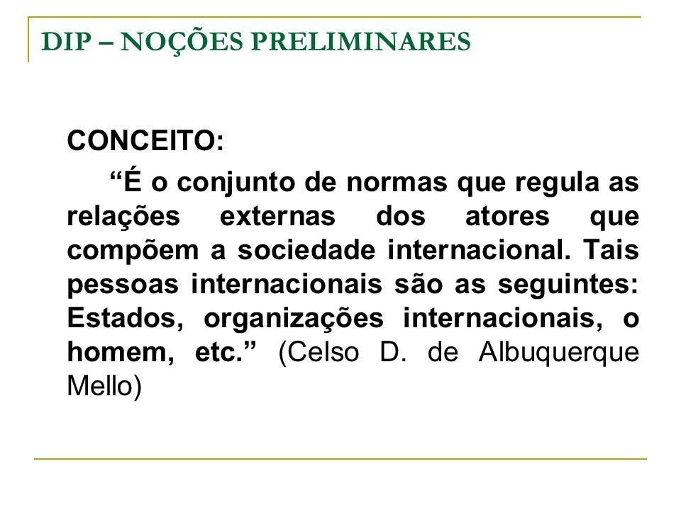 DIP – NOÇÕES PRELIMINARES Pressupostos do Direito Internacional – bases sociológicas: Pluralidade de Estados Soberanos Comércio Internacional Princípios Jurídicos Coincidentes