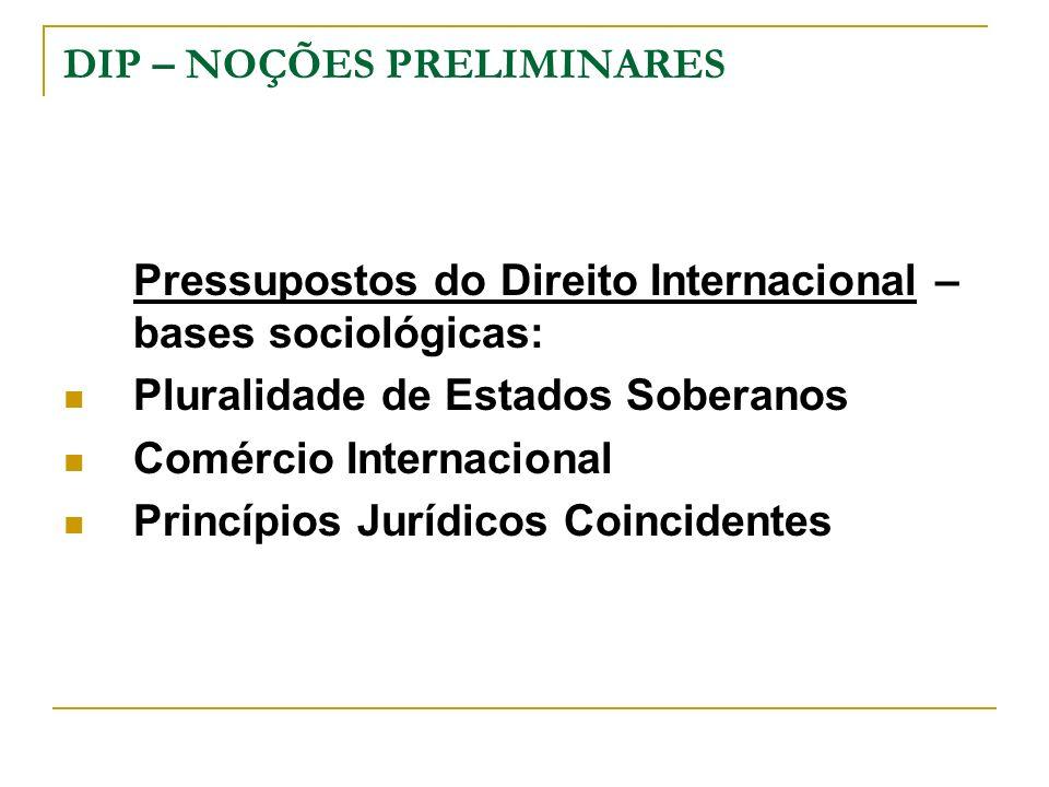 DIP – NOÇÕES PRELIMINARES Pressupostos do Direito Internacional – bases sociológicas: Pluralidade de Estados Soberanos Comércio Internacional Princípi