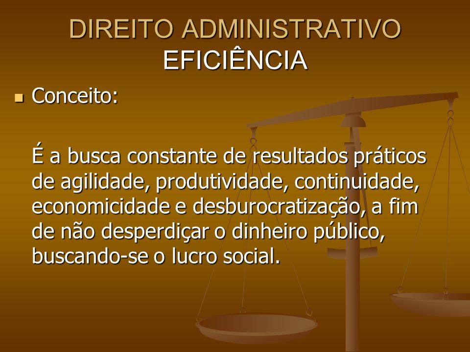 DIREITO ADMINISTRATIVO EFICIÊNCIA Conceito: Conceito: É a busca constante de resultados práticos de agilidade, produtividade, continuidade, economicid