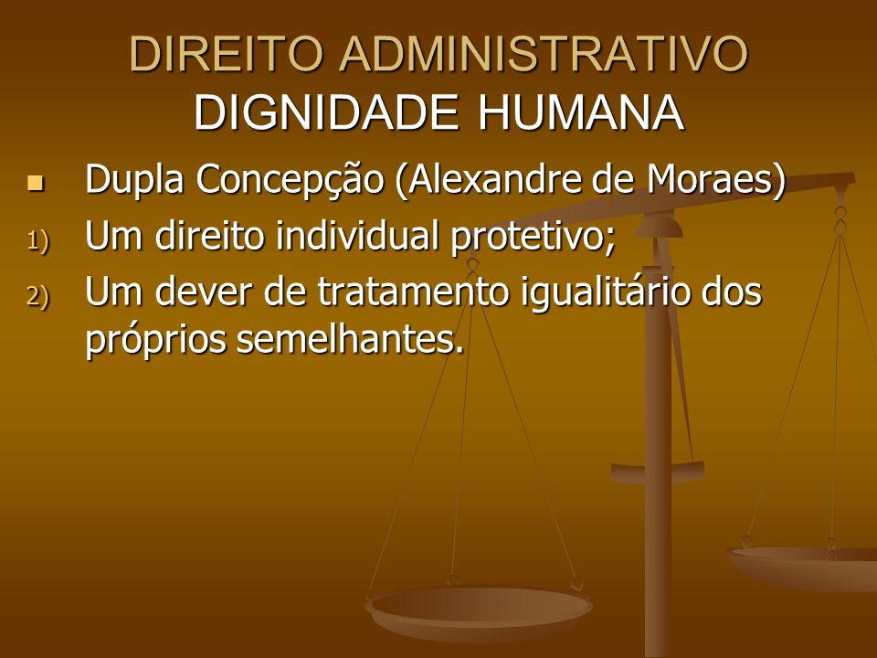 DIREITO ADMINISTRATIVO DIGNIDADE HUMANA Dupla Concepção (Alexandre de Moraes) Dupla Concepção (Alexandre de Moraes) 1) Um direito individual protetivo
