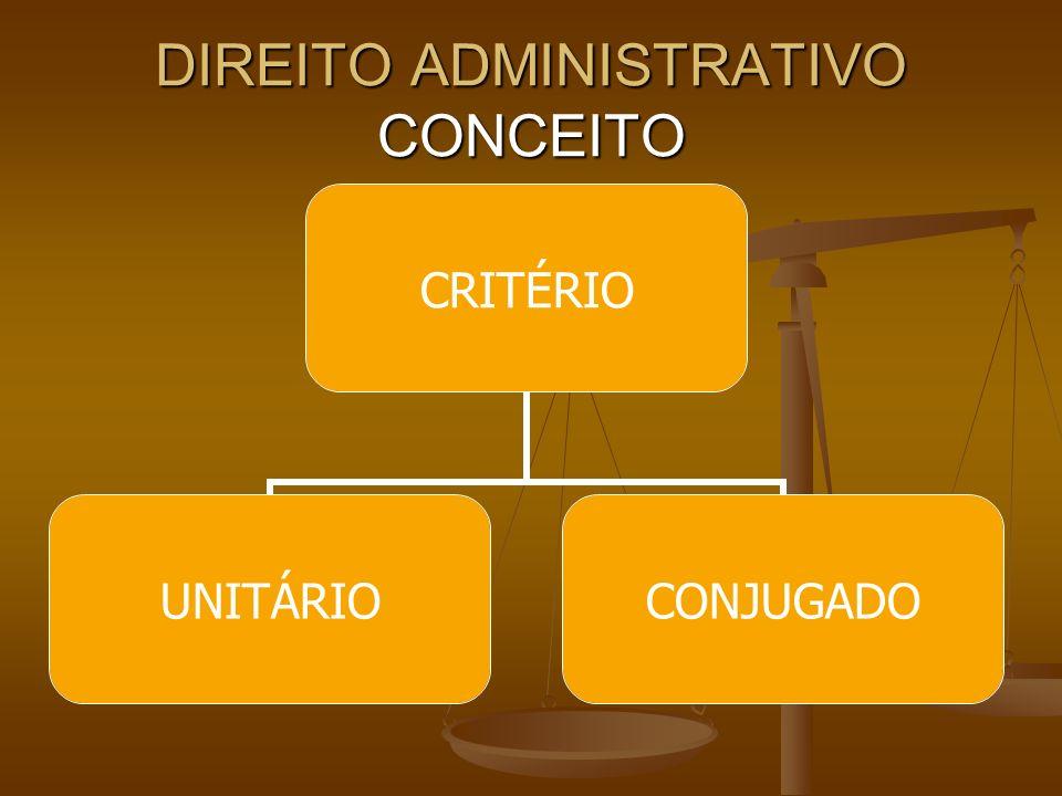 DIREITO ADMINISTRATIVO UNITÁRIO: UNITÁRIO:Legalista; Poder Executivo; Relação Jurídica; Serviço Público; Teleológico / Finalístico Negativista.