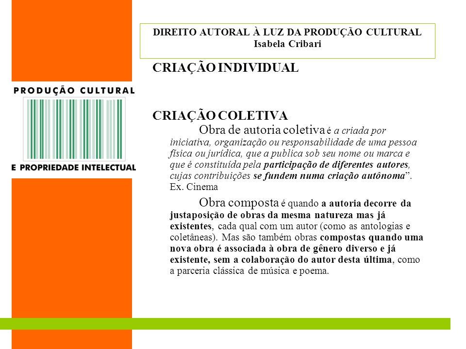 CRIAÇÃO INDIVIDUAL CRIAÇÃO COLETIVA Obra de autoria coletiva é a criada por iniciativa, organização ou responsabilidade de uma pessoa física ou jurídi
