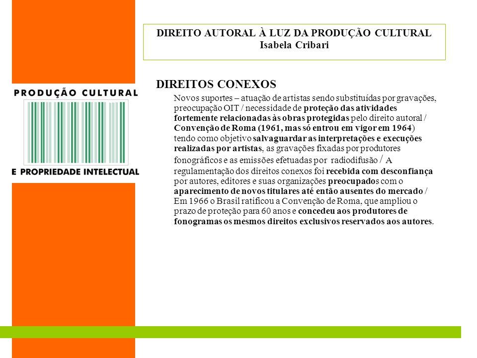 DIREITOS CONEXOS Novos suportes – atuação de artistas sendo substituídas por gravações, preocupação OIT / necessidade de proteção das atividades forte