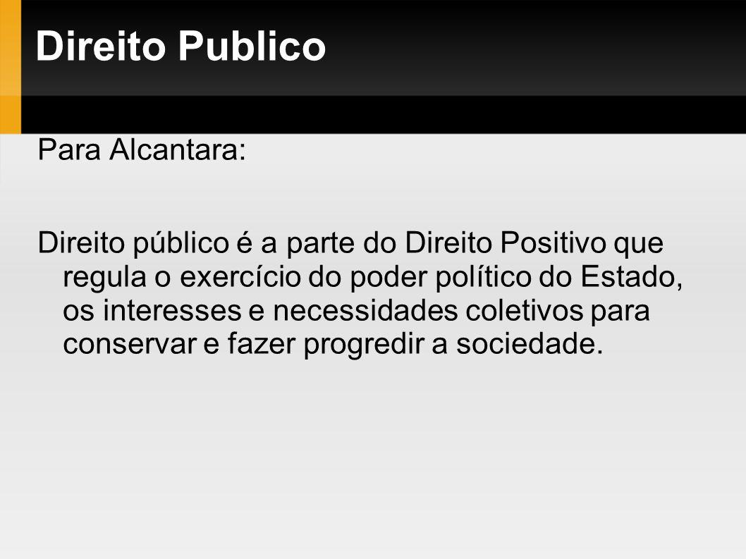 Direito Publico Para Alcantara: Direito público é a parte do Direito Positivo que regula o exercício do poder político do Estado, os interesses e nece