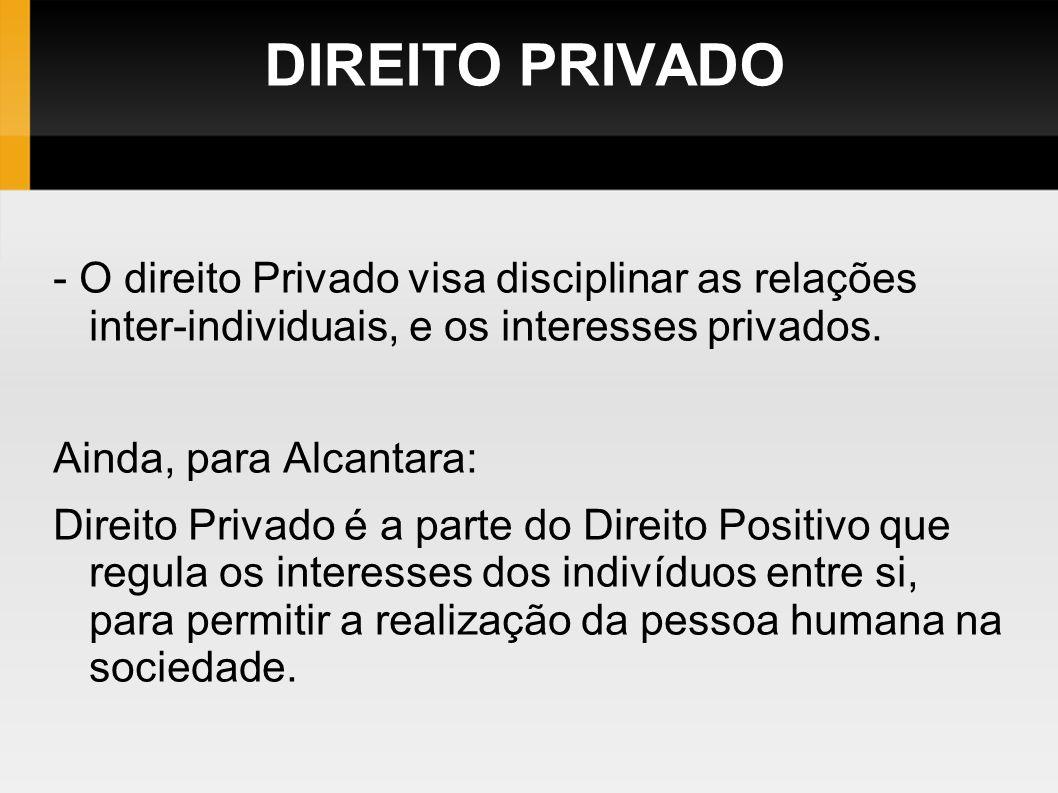 DIREITO PRIVADO - O direito Privado visa disciplinar as relações inter-individuais, e os interesses privados. Ainda, para Alcantara: Direito Privado é