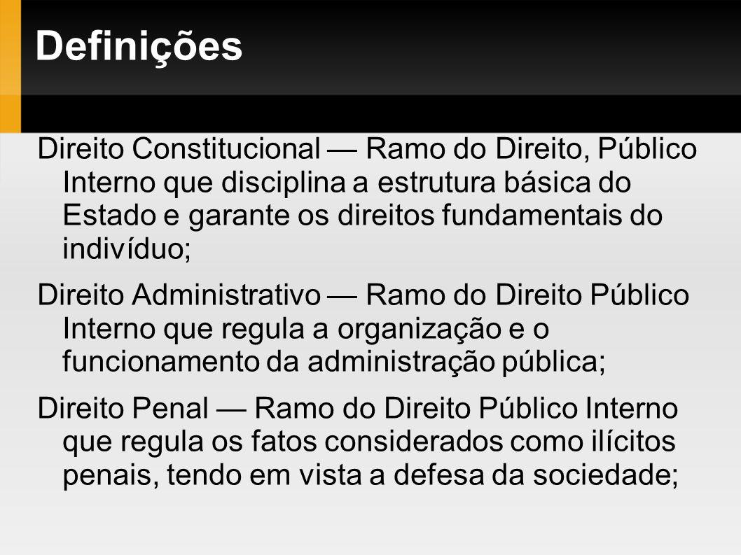 Definições Direito Constitucional Ramo do Direito, Público Interno que disciplina a estrutura básica do Estado e garante os direitos fundamentais do i