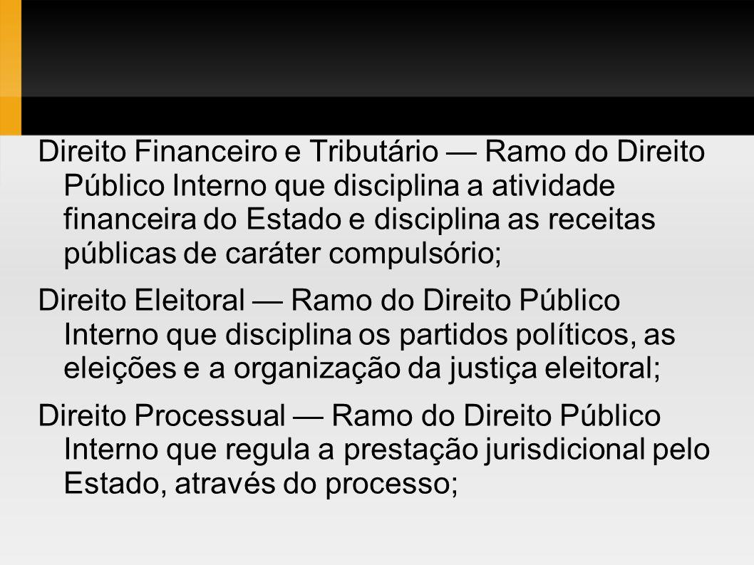 Direito Financeiro e Tributário Ramo do Direito Público Interno que disciplina a atividade financeira do Estado e disciplina as receitas públicas de c