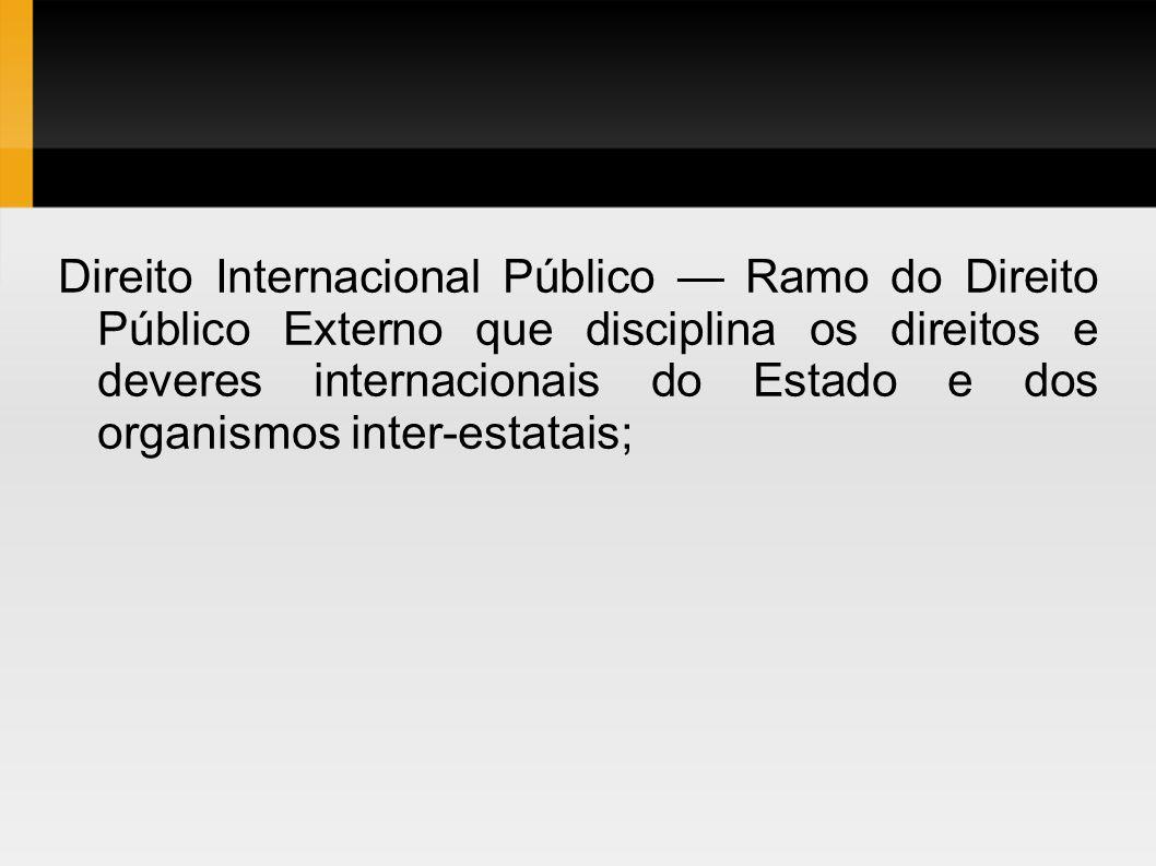Direito Internacional Público Ramo do Direito Público Externo que disciplina os direitos e deveres internacionais do Estado e dos organismos inter-est
