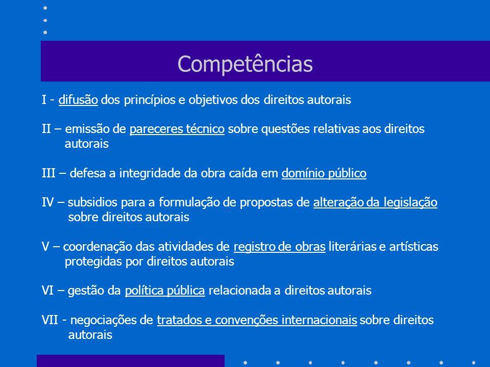 Competências I - difusão dos princípios e objetivos dos direitos autorais II – emissão de pareceres técnico sobre questões relativas aos direitos auto