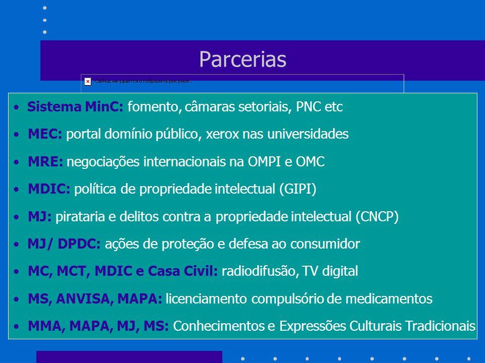 Parcerias Sistema MinC: fomento, câmaras setoriais, PNC etc MEC: portal domínio público, xerox nas universidades MRE: negociações internacionais na OM