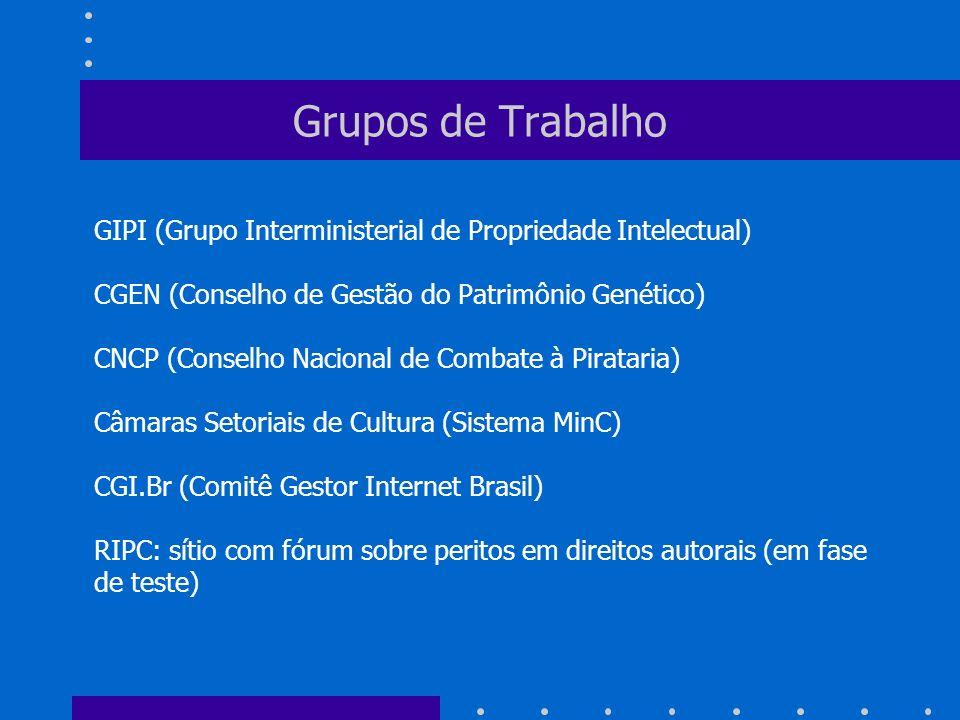 Grupos de Trabalho GIPI (Grupo Interministerial de Propriedade Intelectual) CGEN (Conselho de Gestão do Patrimônio Genético) CNCP (Conselho Nacional d