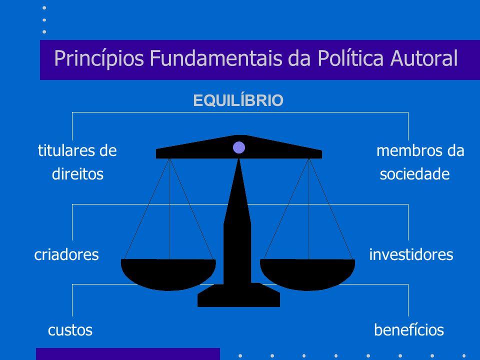 criadores investidores Princípios Fundamentais da Política Autoral titulares de membros da direitos sociedade custos benefícios EQUILÍBRIO