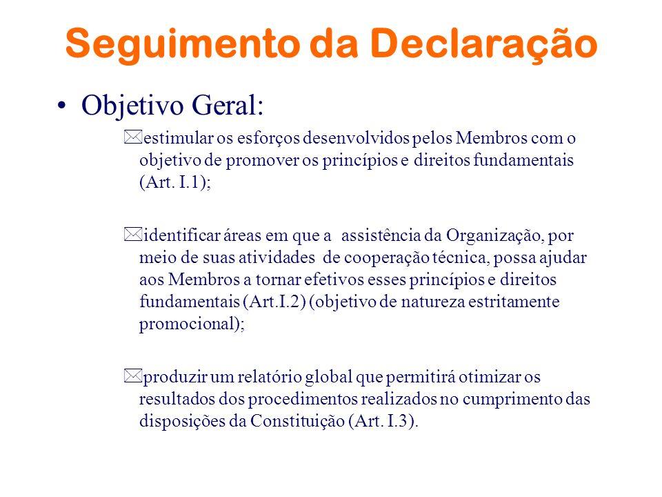 Seguimento da Declaração Objetivo Geral: *estimular os esforços desenvolvidos pelos Membros com o objetivo de promover os princípios e direitos fundam