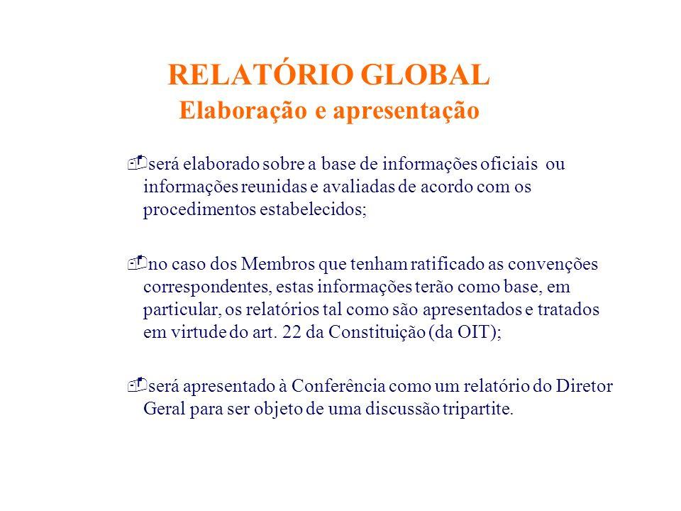 RELATÓRIO GLOBAL Elaboração e apresentação -será elaborado sobre a base de informações oficiais ou informações reunidas e avaliadas de acordo com os p