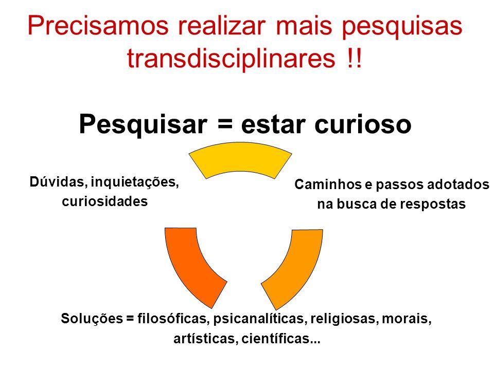 Precisamos realizar mais pesquisas transdisciplinares !! Pesquisar = estar curioso Caminhos e passos adotados na busca de respostas Soluções = filosóf