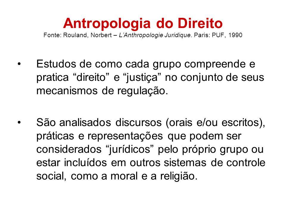 Antropologia do Direito Fonte: Rouland, Norbert – LAnthropologie Juridique. Paris: PUF, 1990 Estudos de como cada grupo compreende e pratica direito e