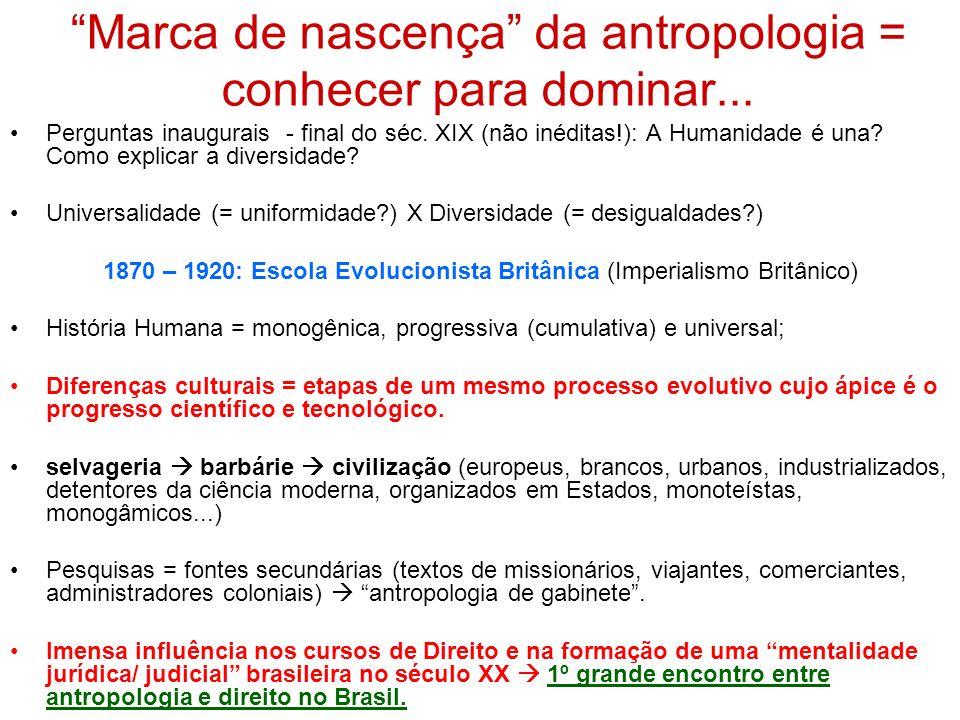 Marca de nascença da antropologia = conhecer para dominar... Perguntas inaugurais - final do séc. XIX (não inéditas!): A Humanidade é una? Como explic