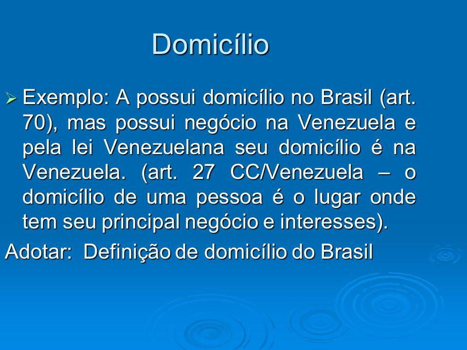Domicílio Exemplo: A possui domicílio no Brasil (art. 70), mas possui negócio na Venezuela e pela lei Venezuelana seu domicílio é na Venezuela. (art.