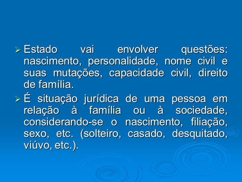 Estado vai envolver questões: nascimento, personalidade, nome civil e suas mutações, capacidade civil, direito de família. Estado vai envolver questõe