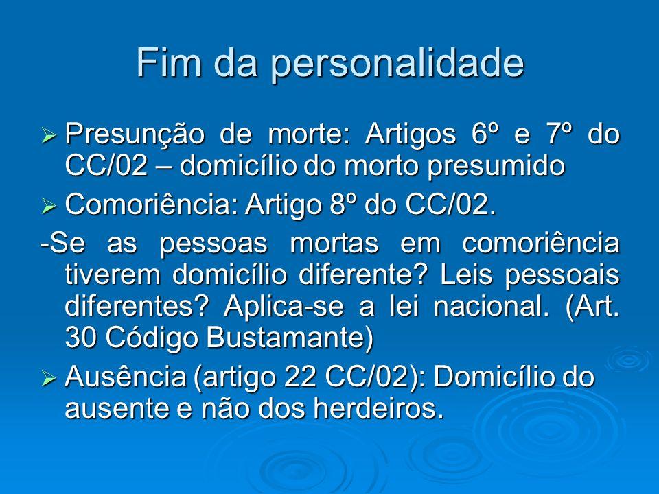 Fim da personalidade Presunção de morte: Artigos 6º e 7º do CC/02 – domicílio do morto presumido Presunção de morte: Artigos 6º e 7º do CC/02 – domicí
