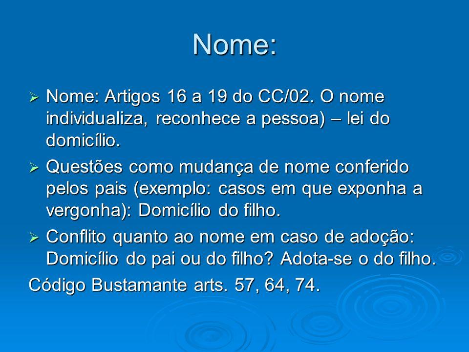Nome: Nome: Artigos 16 a 19 do CC/02. O nome individualiza, reconhece a pessoa) – lei do domicílio. Nome: Artigos 16 a 19 do CC/02. O nome individuali