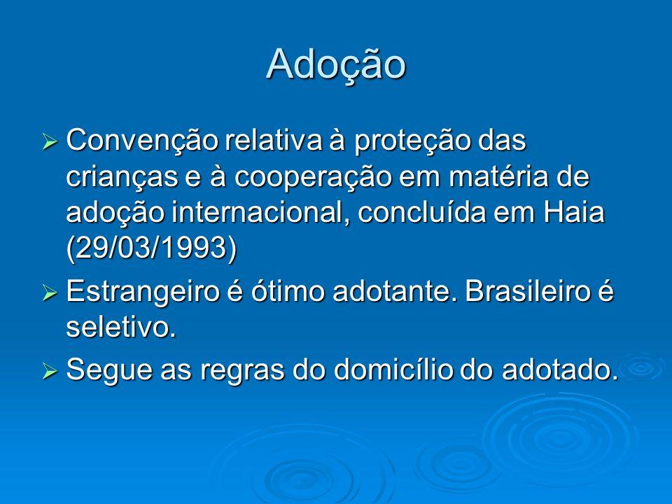 Adoção Convenção relativa à proteção das crianças e à cooperação em matéria de adoção internacional, concluída em Haia (29/03/1993) Convenção relativa
