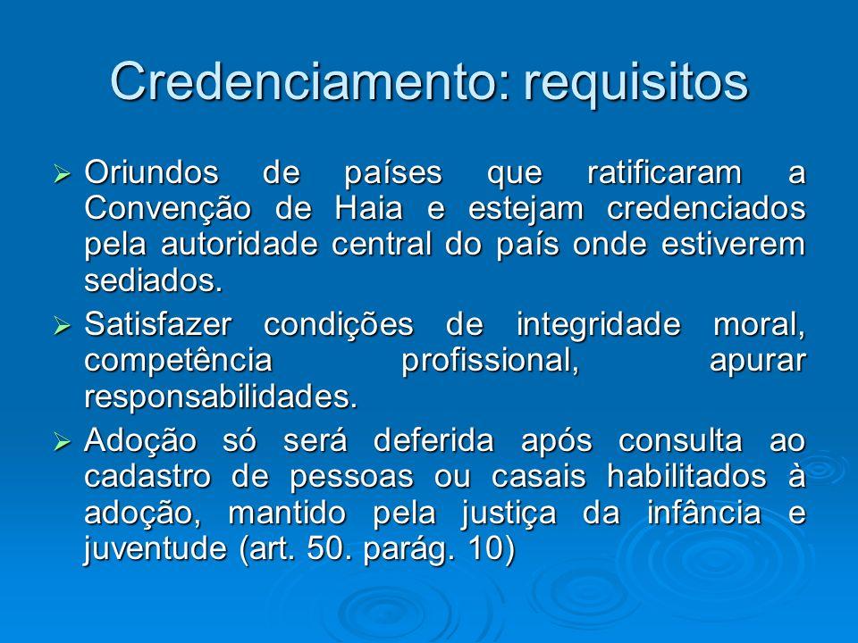 Credenciamento: requisitos Oriundos de países que ratificaram a Convenção de Haia e estejam credenciados pela autoridade central do país onde estivere