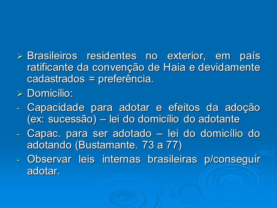 Brasileiros residentes no exterior, em país ratificante da convenção de Haia e devidamente cadastrados = preferência. Brasileiros residentes no exteri