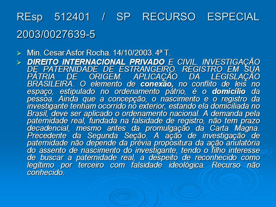 REsp 512401 / SP RECURSO ESPECIAL 2003/0027639-5 Min. Cesar Asfor Rocha. 14/10/2003. 4ª T. Min. Cesar Asfor Rocha. 14/10/2003. 4ª T. DIREITO INTERNACI