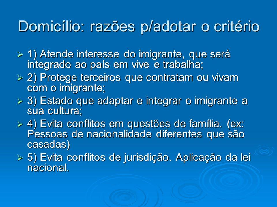 Domicílio: razões p/adotar o critério 1) Atende interesse do imigrante, que será integrado ao país em vive e trabalha; 1) Atende interesse do imigrant