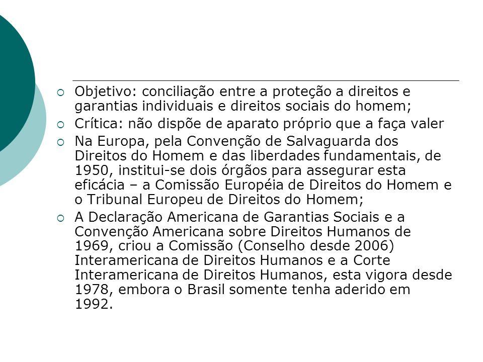 Objetivo: conciliação entre a proteção a direitos e garantias individuais e direitos sociais do homem; Crítica: não dispõe de aparato próprio que a fa