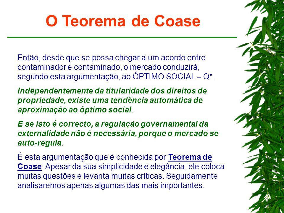 O Teorema de Coase Então, desde que se possa chegar a um acordo entre contaminador e contaminado, o mercado conduzirá, segundo esta argumentação, ao Ó