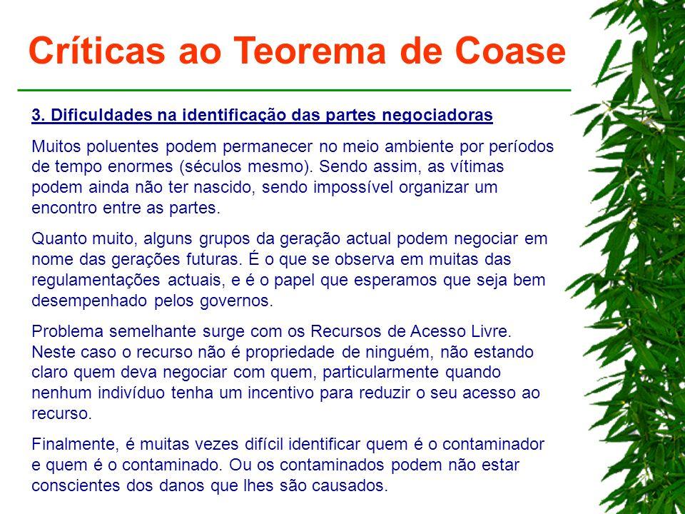 Críticas ao Teorema de Coase 3. Dificuldades na identificação das partes negociadoras Muitos poluentes podem permanecer no meio ambiente por períodos