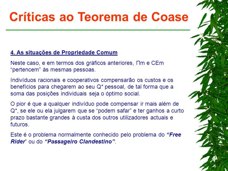 Críticas ao Teorema de Coase 4. As situações de Propriedade Comum Neste caso, e em termos dos gráficos anteriores, Πm e CEm pertencem às mesmas pessoa