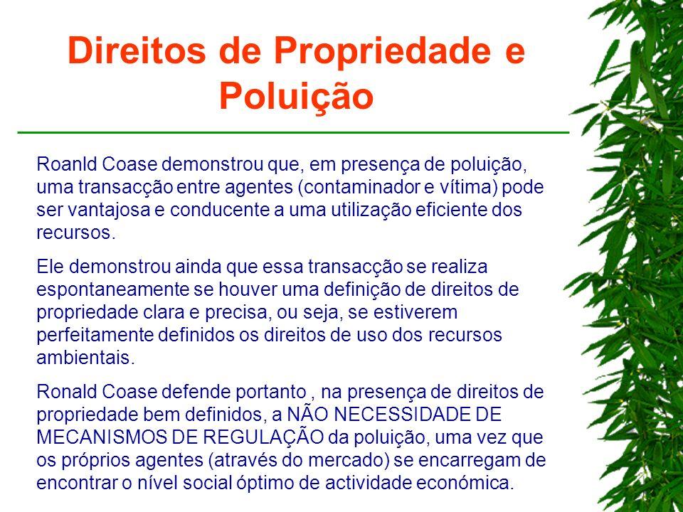 Direitos de Propriedade e Poluição Roanld Coase demonstrou que, em presença de poluição, uma transacção entre agentes (contaminador e vítima) pode ser