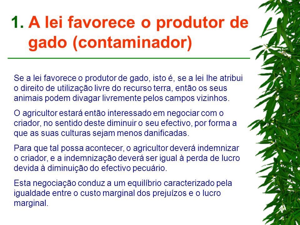 1. A lei favorece o produtor de gado (contaminador) Se a lei favorece o produtor de gado, isto é, se a lei lhe atribui o direito de utilização livre d