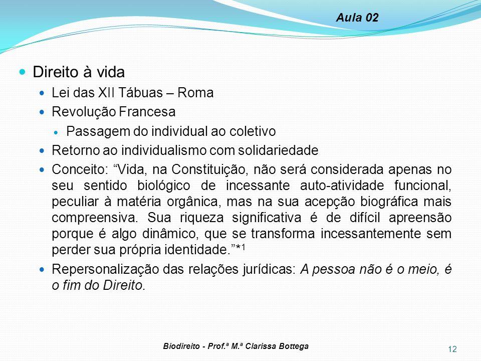 Direito à vida Lei das XII Tábuas – Roma Revolução Francesa Passagem do individual ao coletivo Retorno ao individualismo com solidariedade Conceito: V