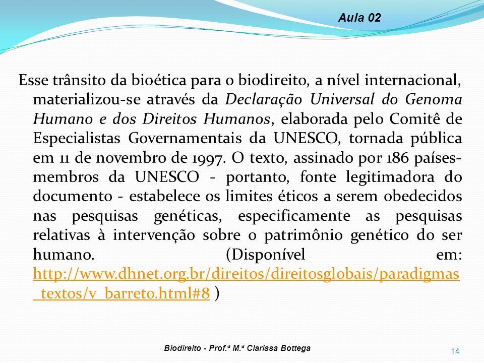 Esse trânsito da bioética para o biodireito, a nível internacional, materializou-se através da Declaração Universal do Genoma Humano e dos Direitos Hu