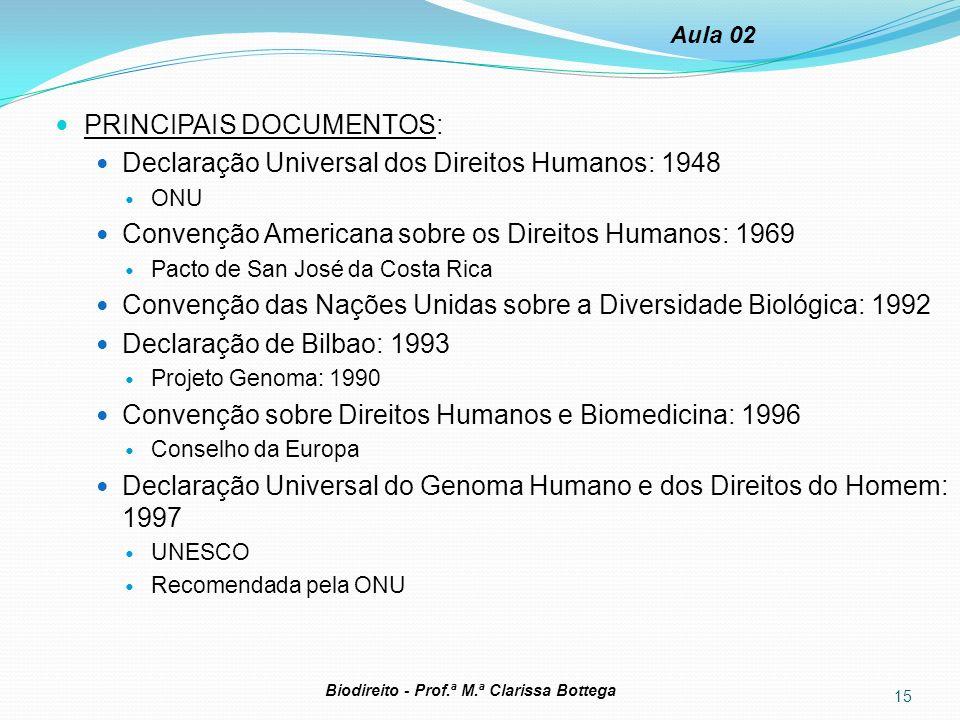 15 Biodireito - Prof.ª M.ª Clarissa Bottega Aula 02 PRINCIPAIS DOCUMENTOS: Declaração Universal dos Direitos Humanos: 1948 ONU Convenção Americana sob