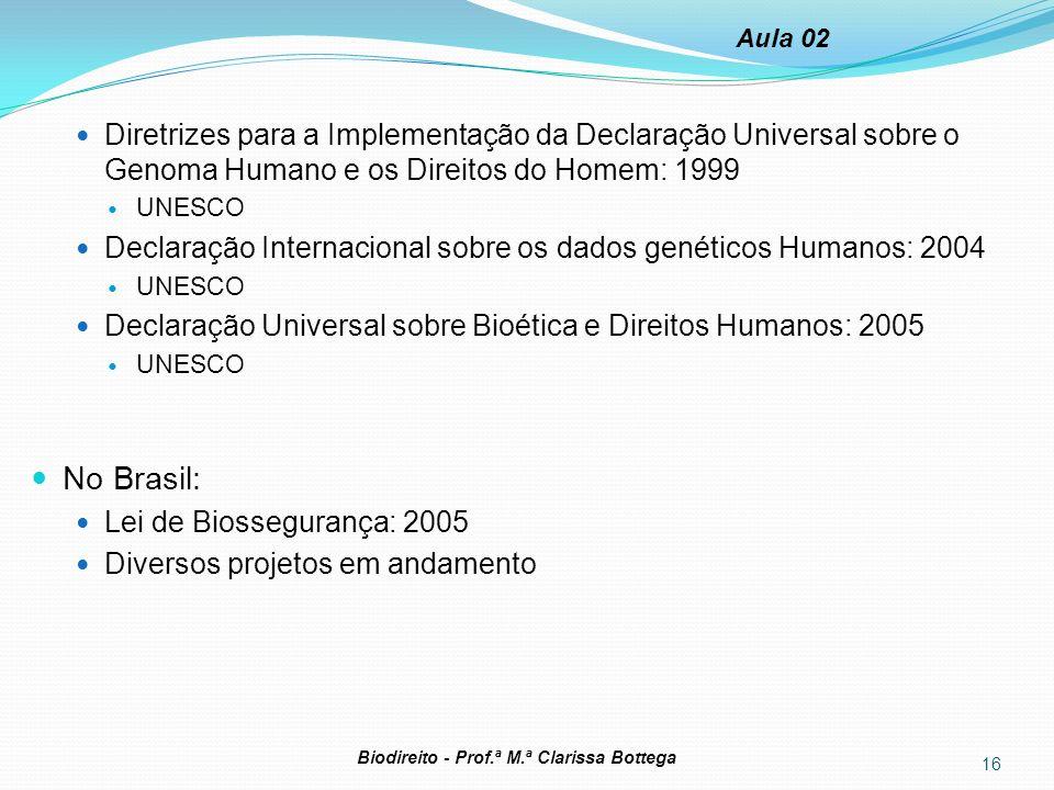16 Biodireito - Prof.ª M.ª Clarissa Bottega Aula 02 Diretrizes para a Implementação da Declaração Universal sobre o Genoma Humano e os Direitos do Hom