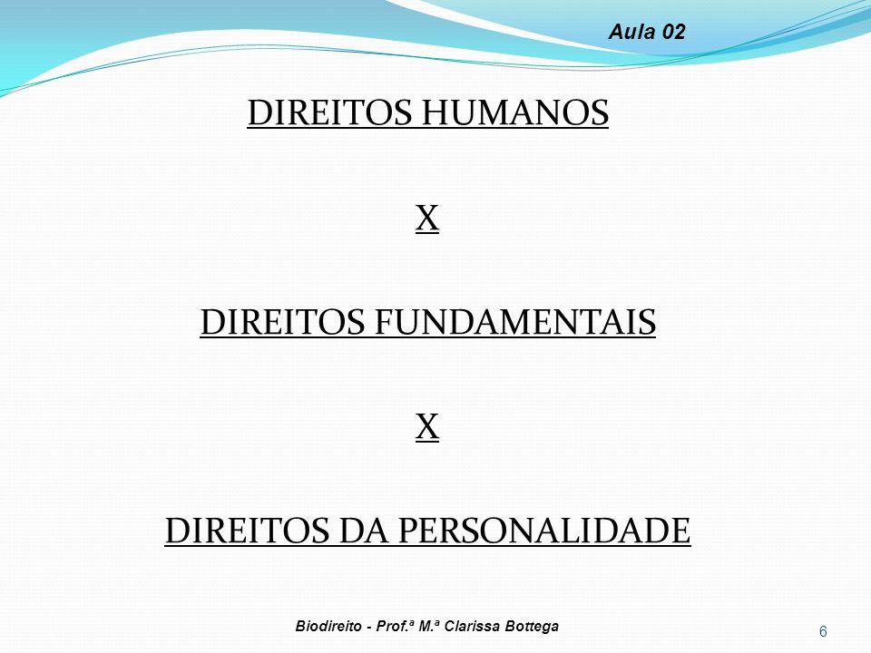 DIREITOS HUMANOS X DIREITOS FUNDAMENTAIS X DIREITOS DA PERSONALIDADE 6 Biodireito - Prof.ª M.ª Clarissa Bottega Aula 02