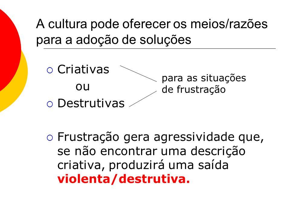 A cultura pode oferecer os meios/razões para a adoção de soluções Criativas ou Destrutivas Frustração gera agressividade que, se não encontrar uma des