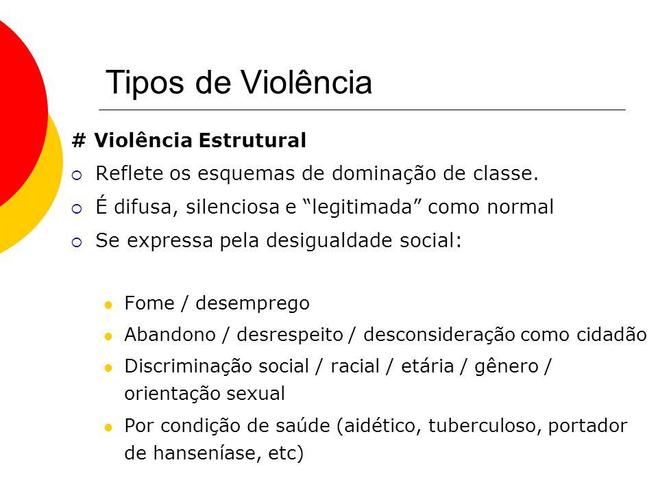 Tipos de Violência # Violência Estrutural Reflete os esquemas de dominação de classe. É difusa, silenciosa e legitimada como normal Se expressa pela d