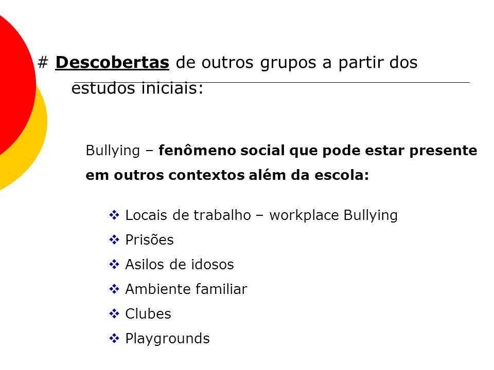 # Descobertas de outros grupos a partir dos estudos iniciais: Bullying – fenômeno social que pode estar presente em outros contextos além da escola: L