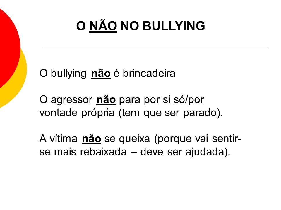 O bullying não é brincadeira O agressor não para por si só/por vontade própria (tem que ser parado). A vítima não se queixa (porque vai sentir- se mai