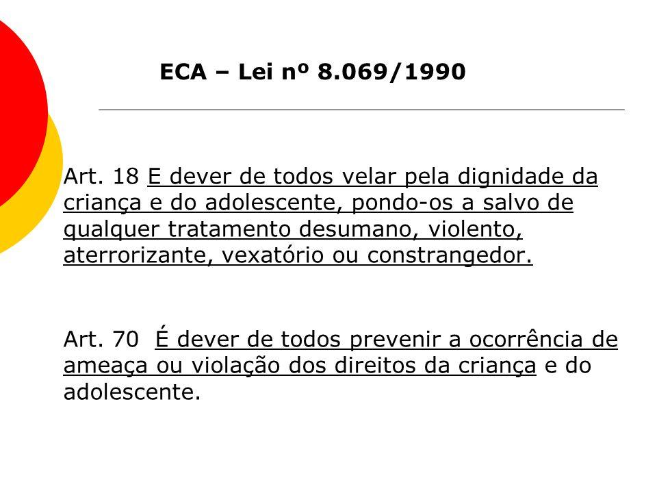 Art. 18 E dever de todos velar pela dignidade da criança e do adolescente, pondo-os a salvo de qualquer tratamento desumano, violento, aterrorizante,